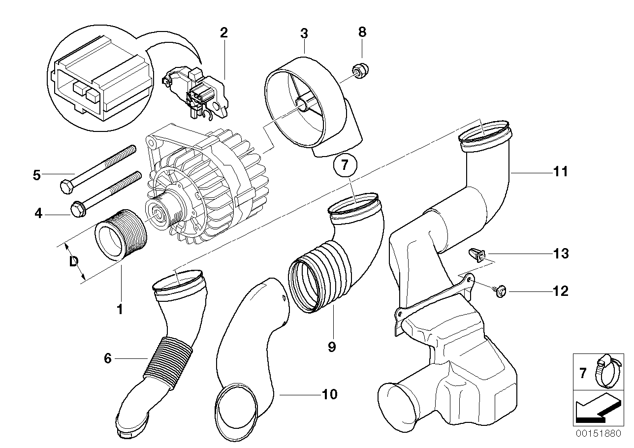 AV13 Generator Single Parts 120A Bosch-12_1084