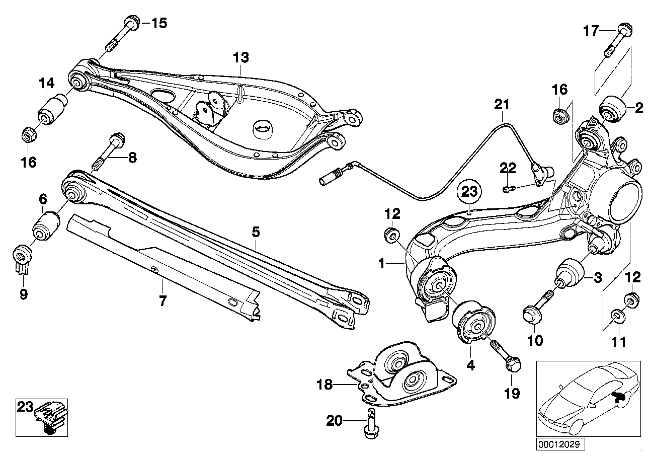 AM33 Rear axle support/wheel suspension 33_0840