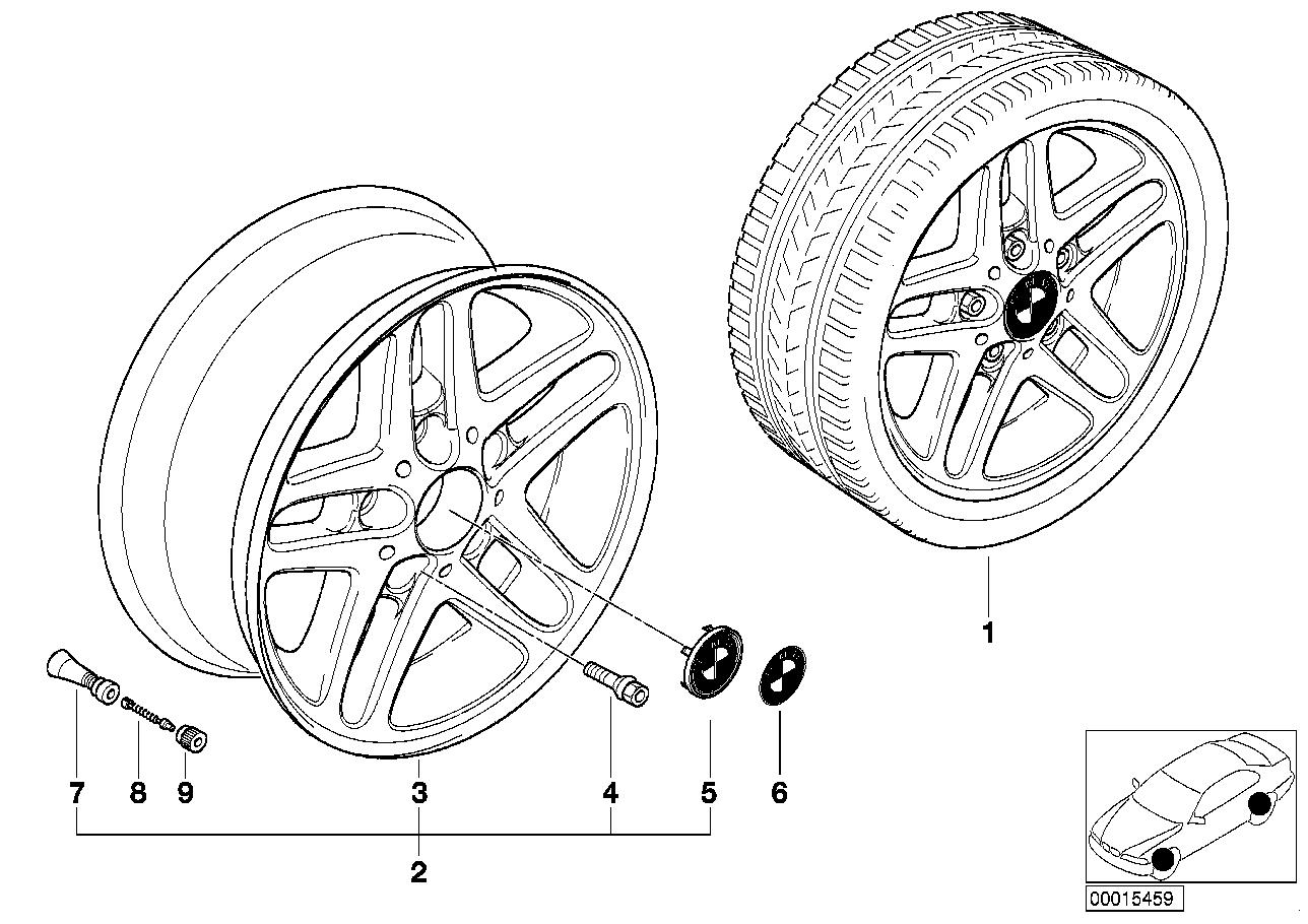 AM33 BMW light alloy wheel, double spoke 53 36_0356