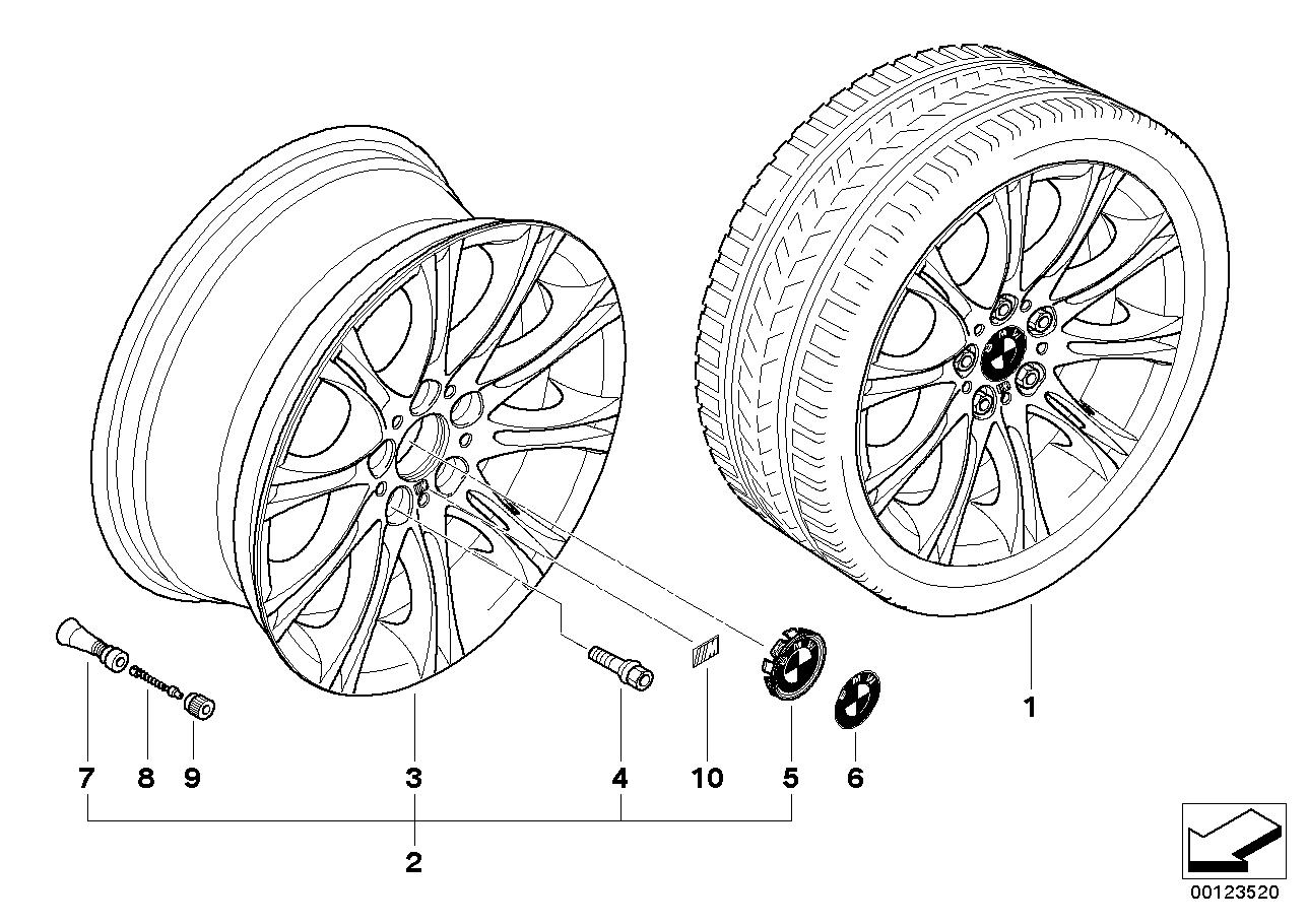 AM33 BMW alloy wheel, M double spoke 135 36_0688