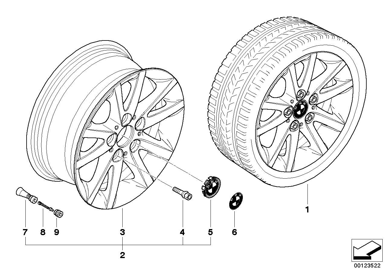 AM33 BMW light alloy wheel, spider spoke 136 36_0689