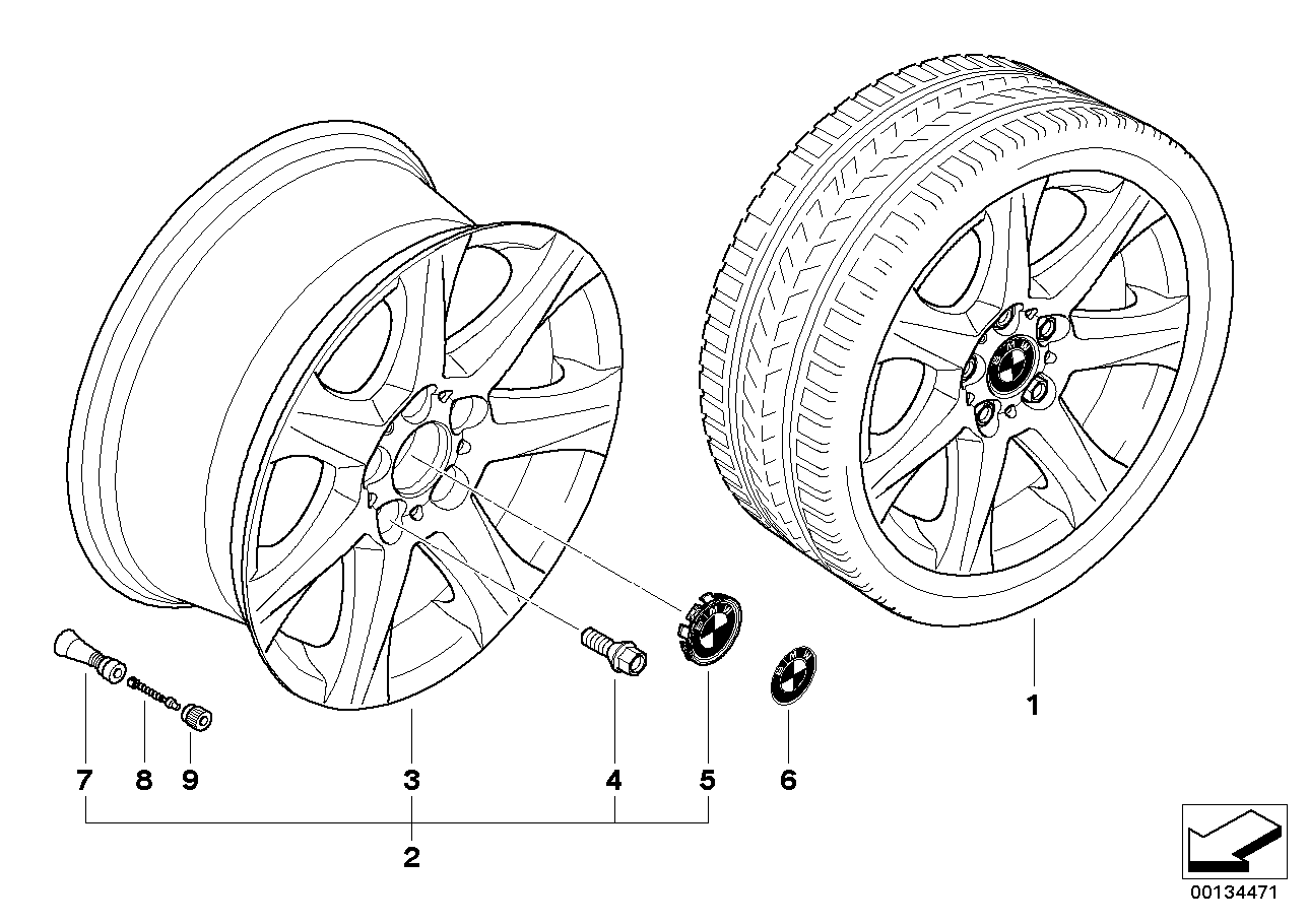 AM33 BMW light alloy wheel, star spoke 170 36_0795