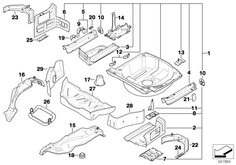 AM33 Mounting parts for trunk floor panel 41_1106
