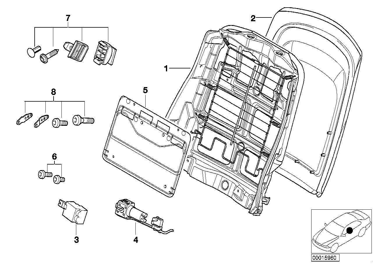 AM33 Front seat backrest frame/rear panel 52_2305