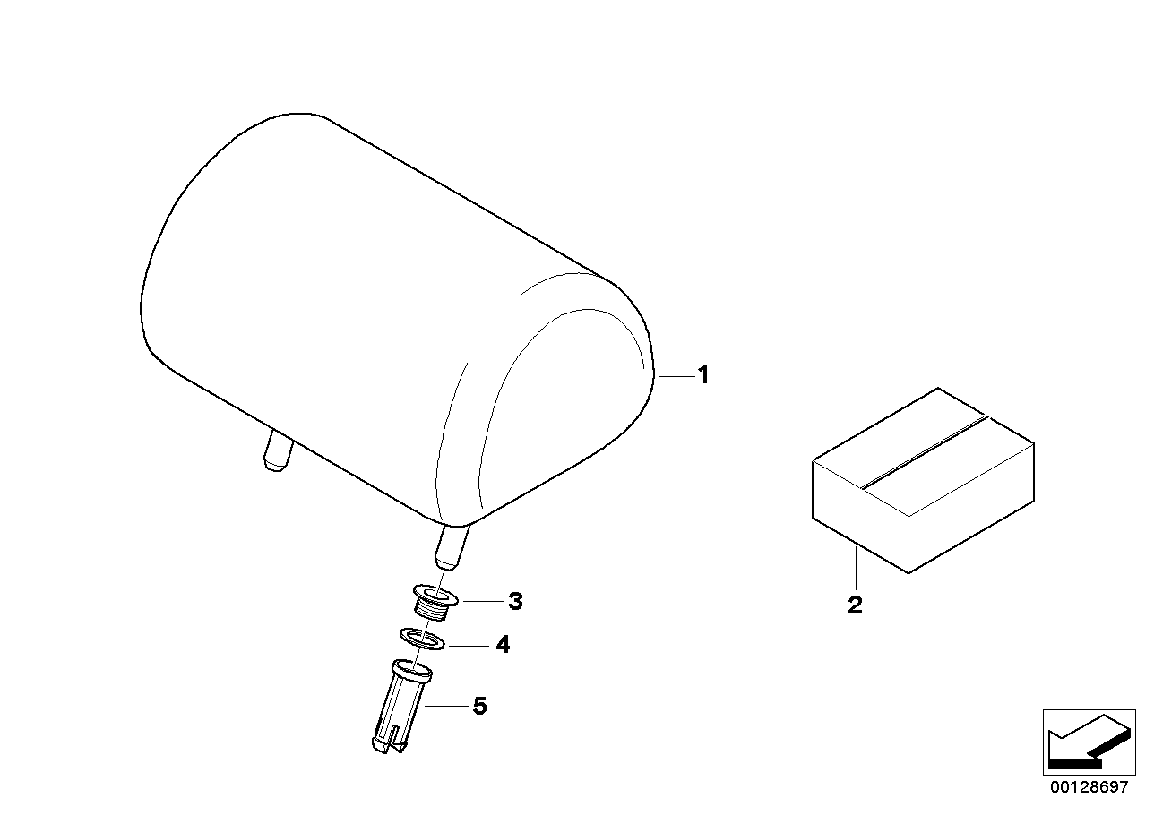 AM33 Seat, rear, head restraint, center 52_2746