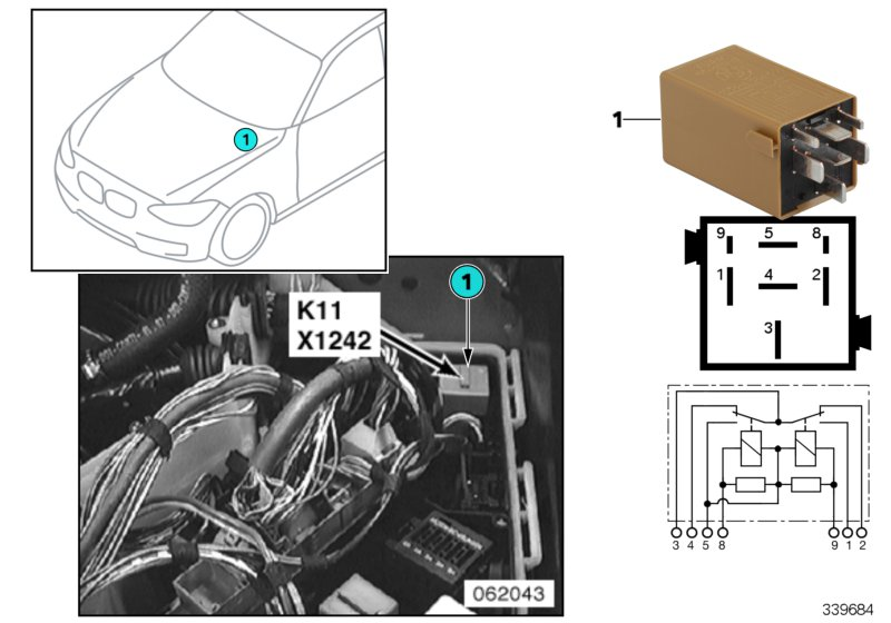 AM33 Relay for windshield wiper K11 61_3372