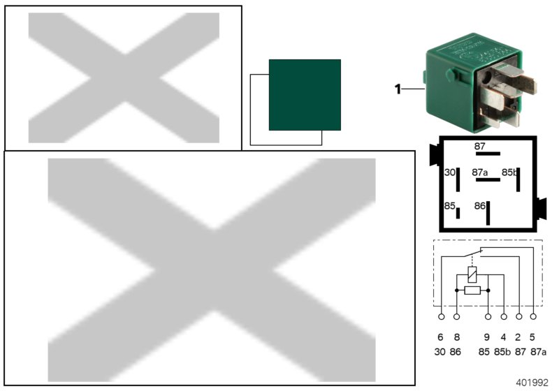 AM33 Relay, change-over contact, pine green 61_4480
