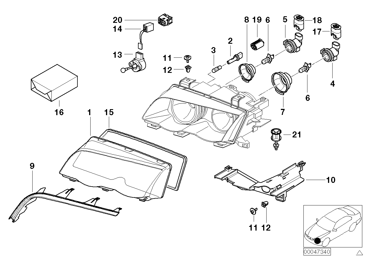 AM33 Single components for headlight 63_0472