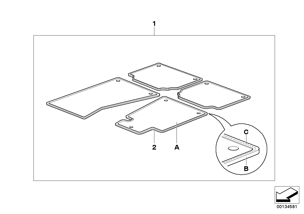 AM33 Individual floor mats, Fabric border 91_0299