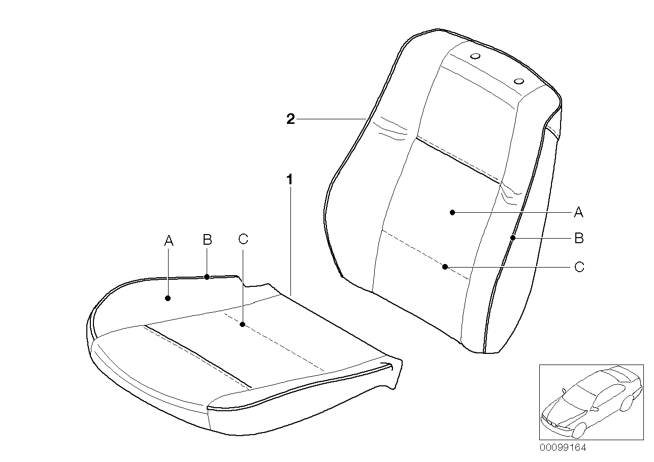 AM33 Indiv.cover,stand.seat,leath. with strip 91_0311