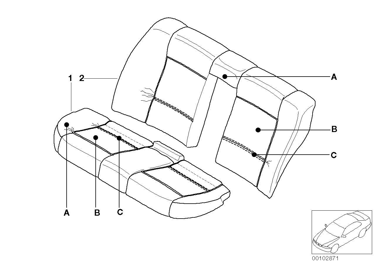 AM33 Individual cover, seat, rear, leather Q9 91_0384